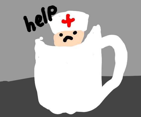Nurse stuck in coffee mug