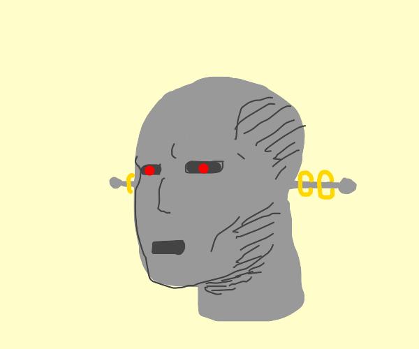 gray humanoid robot head