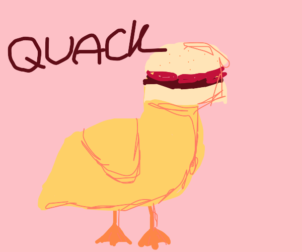 duck with hamburger for head