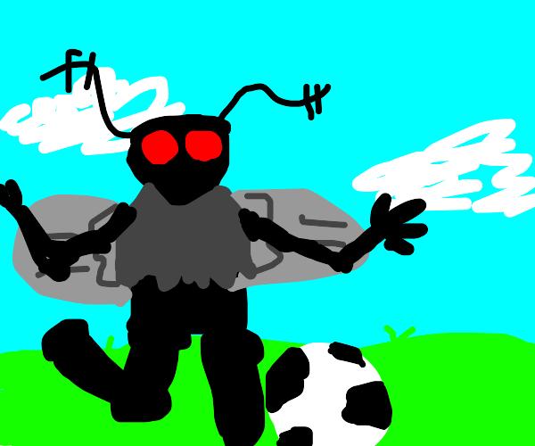 Mothman plays soccer