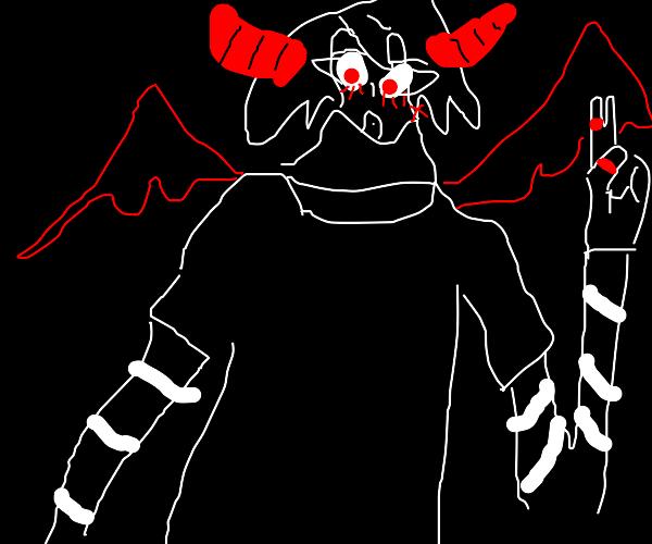 Blushing long-armed demon
