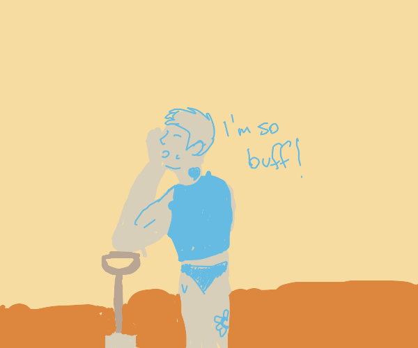 A buff tatootist digging while being in lava