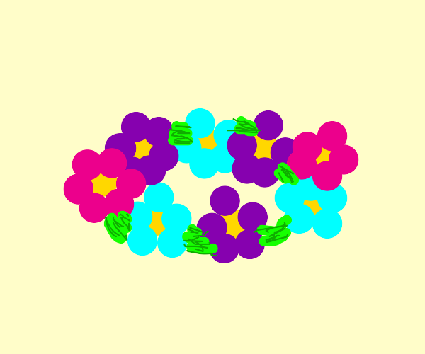 Colorful flowers in a circle (flower crown?)