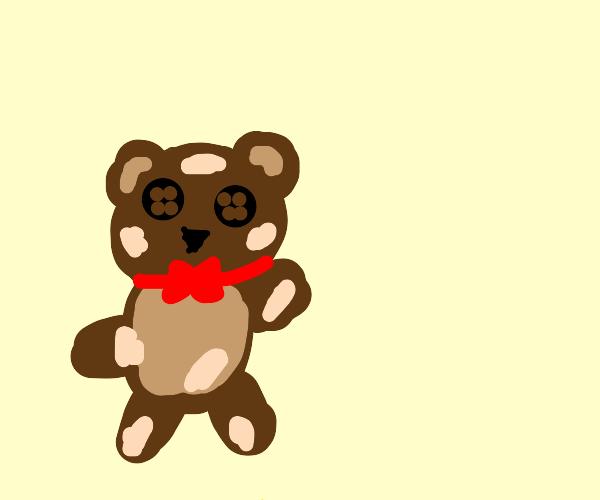 Teddy bear has nuts stuck to him