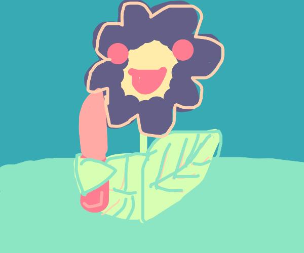 flower holds knife