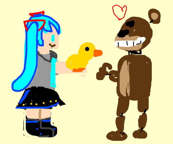 miku giving bf (fnf) a rubber duck