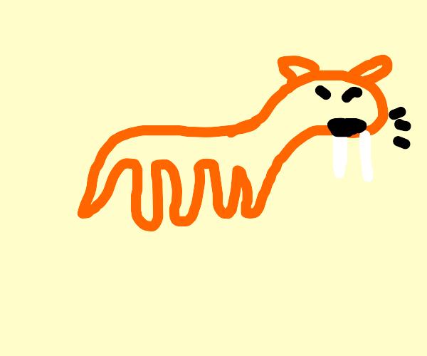 Sabertooth tiger roaring