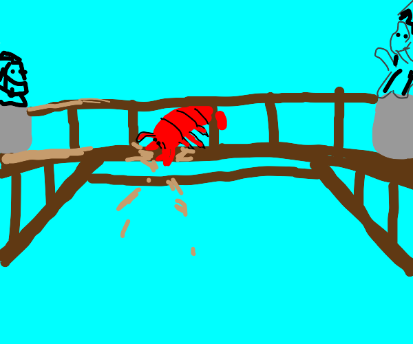 Lobster digging into a Bridge