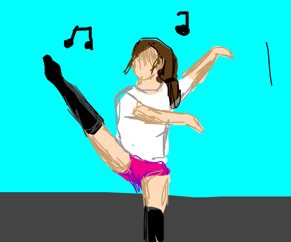 faceless woman in a dress dancing