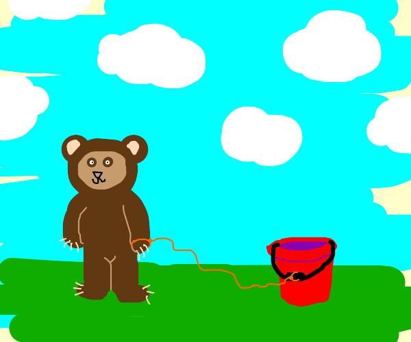 Bear with pet bucket