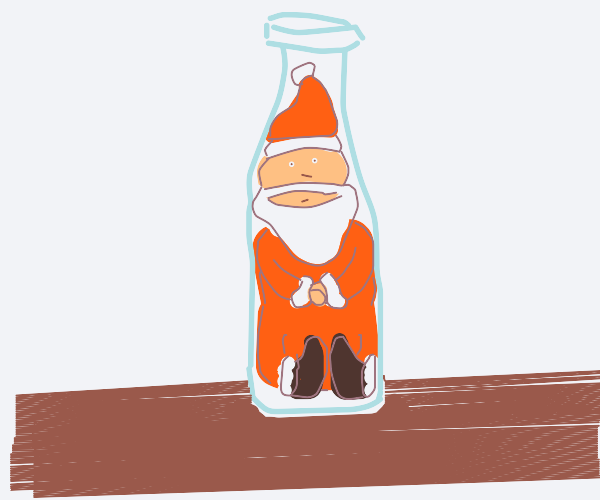 Santa in a bottle