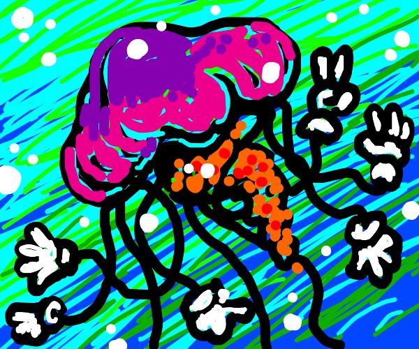 Jellyfish wearing Gloves