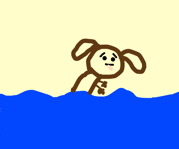 Dog sinking into the Ocean