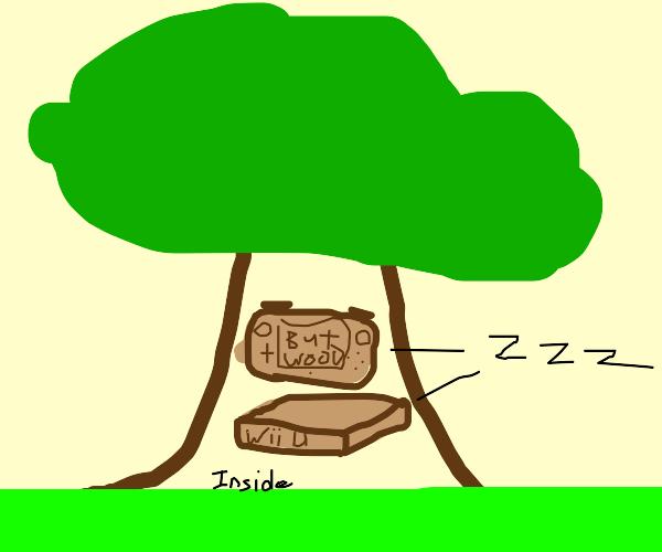 Sleeping Wooden WII-U in a Tree