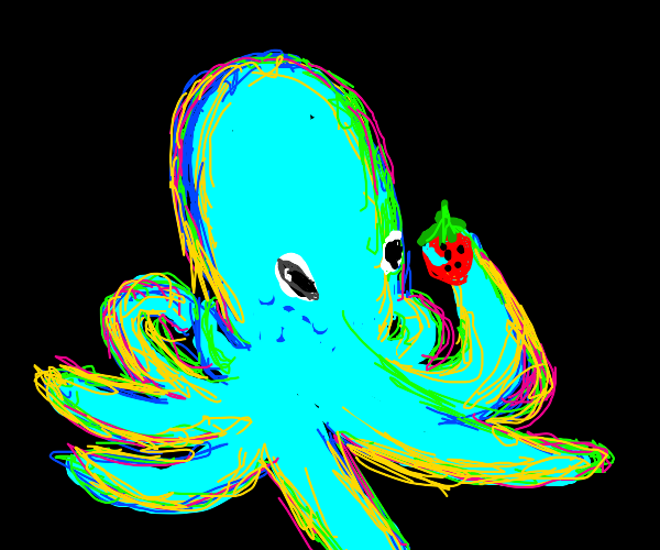 Glowing octopus finds a strawberry