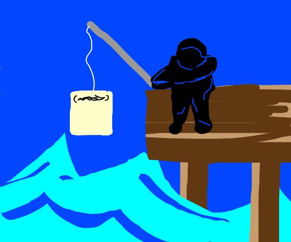 Fisherman catches Drawception panel