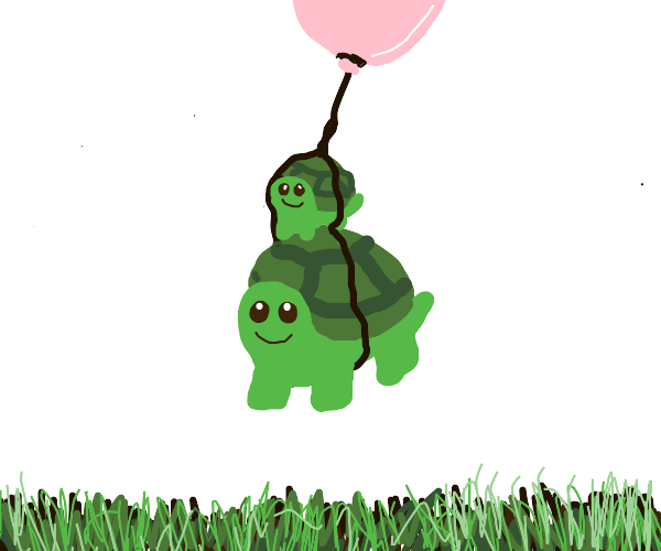 Two CUUUUTE turtles tied to pink balloon