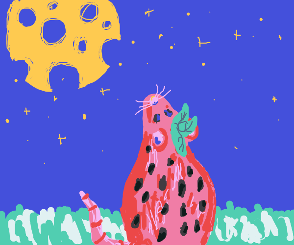 Strawberry rat looking at cheese moon