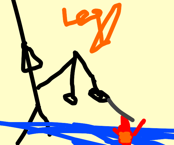 Man fishing for a lobster