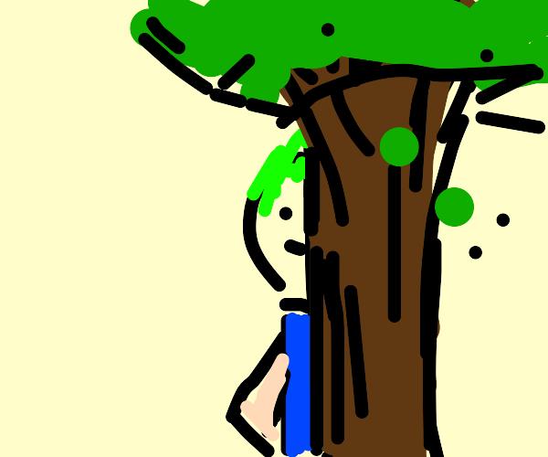 Sketchy man hides behind tree