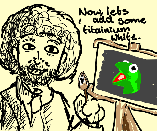 BobRoss uses titaniumwhite 2 his Kermit drawi