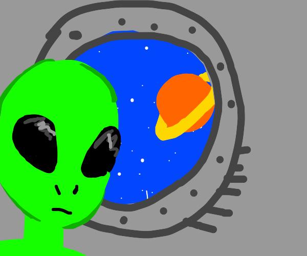 alien in space ship