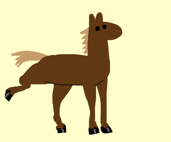 brown horse with leg up