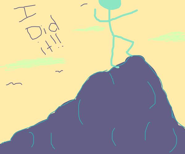 Stickman has climbed the mountain
