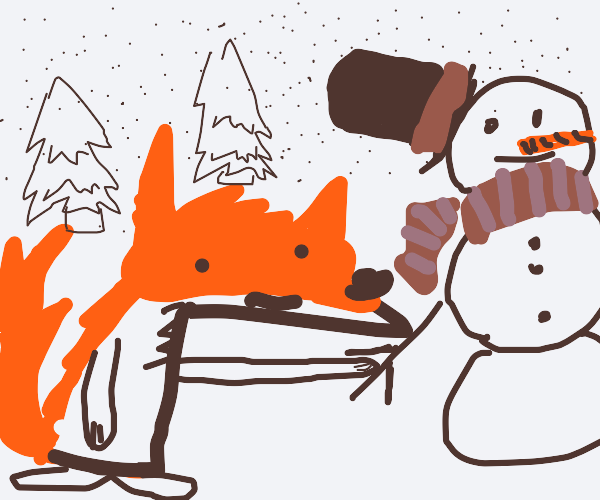 fox builds snowman in snowy forest