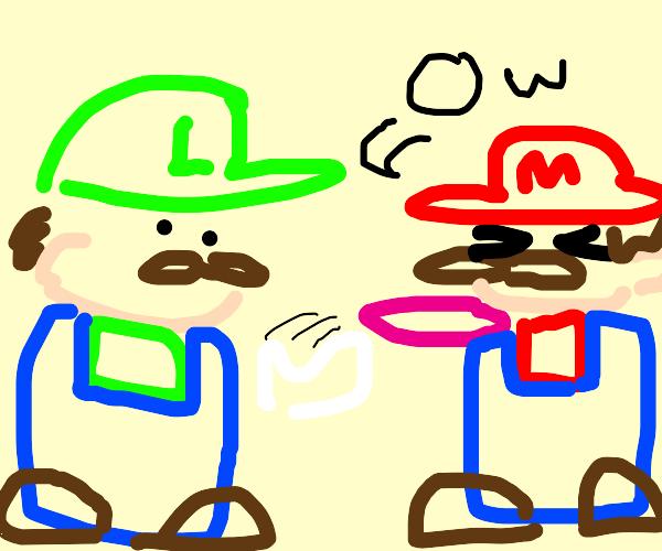 Luigi shoots Mario with rubber band