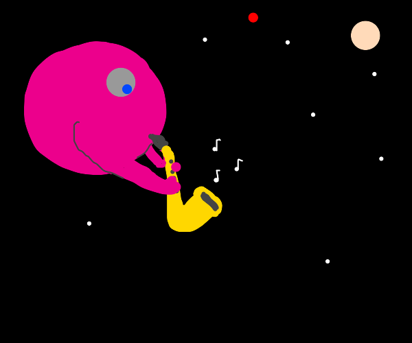 pink planet plays the saxophone