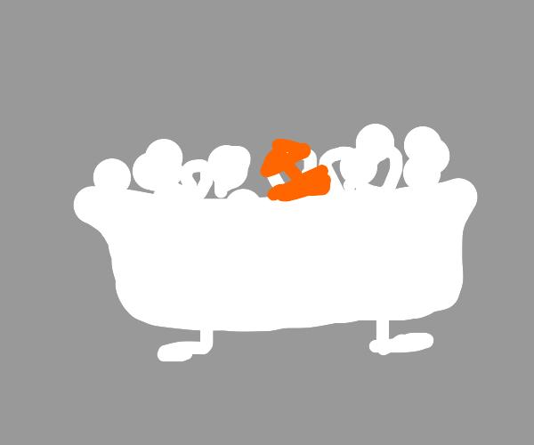 bubblebath with orange boat