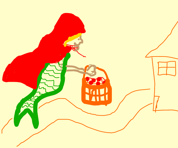 Mermaid Riding Hood off to give granny lunch