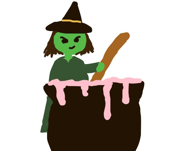 Witch works the cauldron