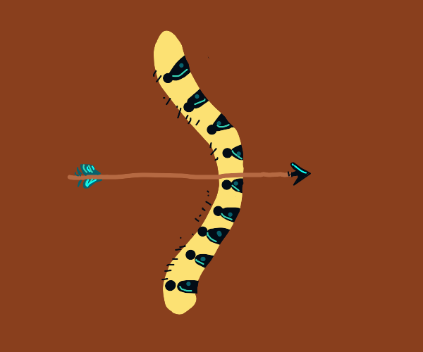 Arrow with a bow made out of a caterpillar