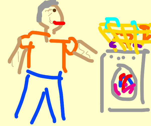 Grandfather doing Laundry