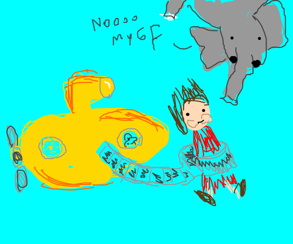 submarine steals elephant's girl, dolphin