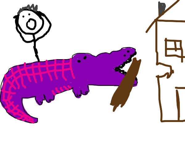 purple crocodile tries to eat floating house