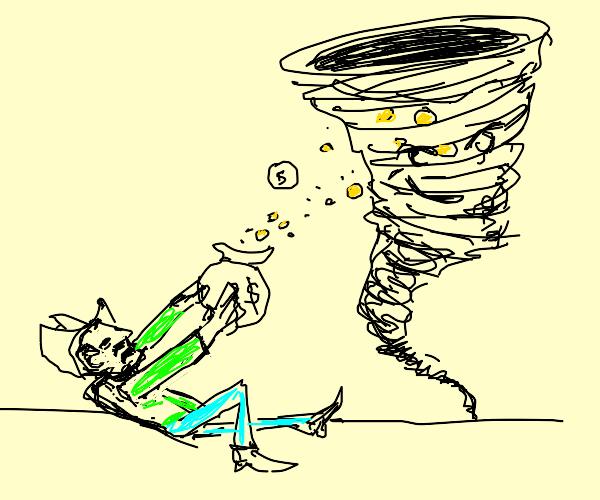 Tornado steals man's gold coins