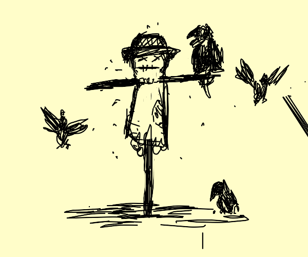 scarecrow got a crow on his hand