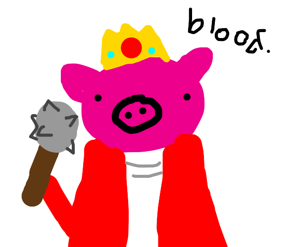 Pig going to war with a mace in hand