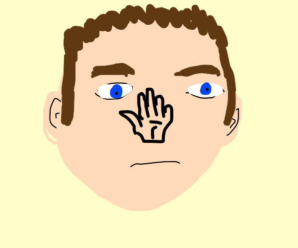 Man with a hand for a nose