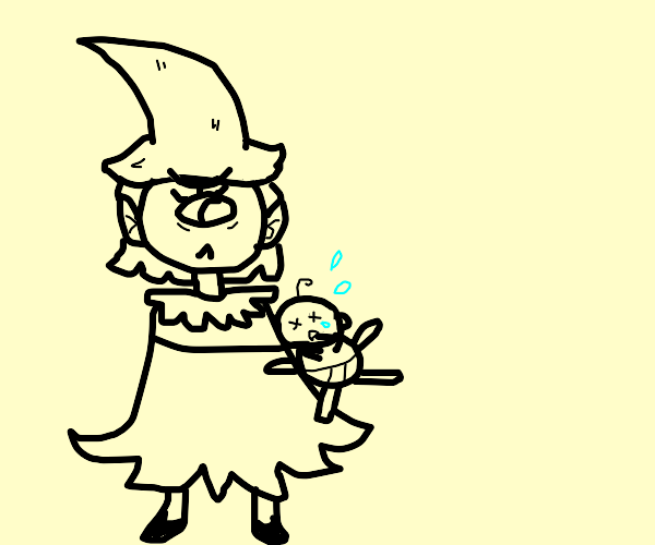 Cyclops White Witch strangles crying Human