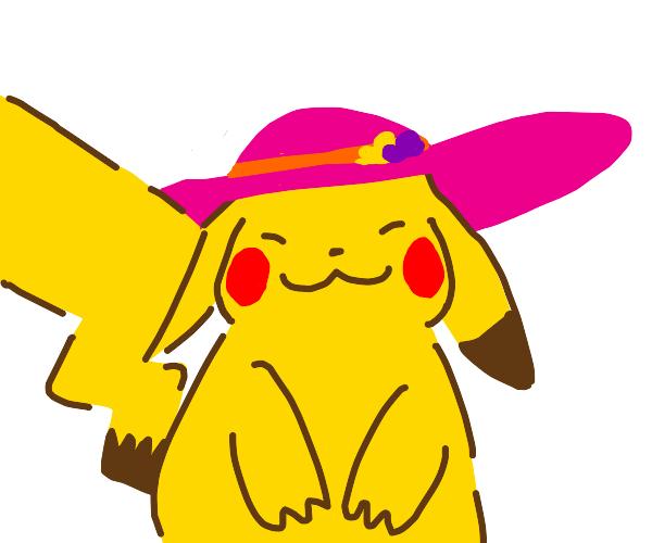Pikachu wearing a fancy hat