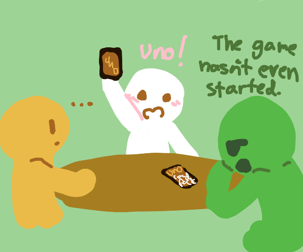A Game of Uno and you only have one card