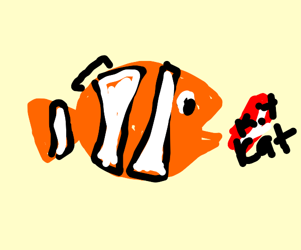 Nemo holding kitkat wrapper in mouth