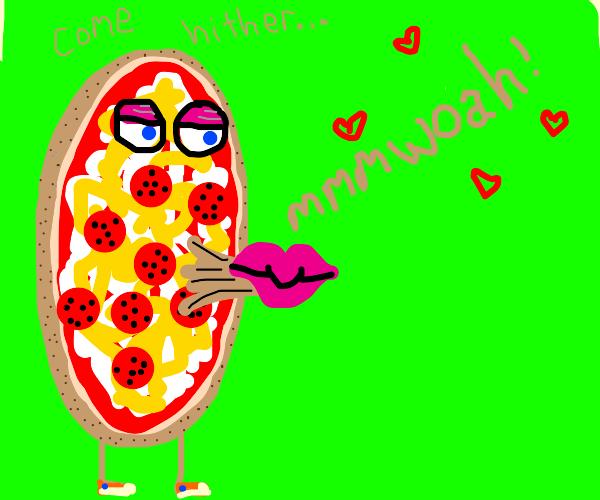 Pizza requests a kiss