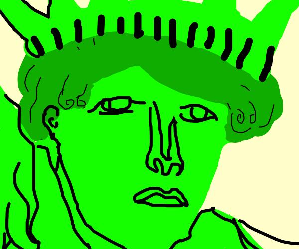 Ninja climbing green Lady of Liberty