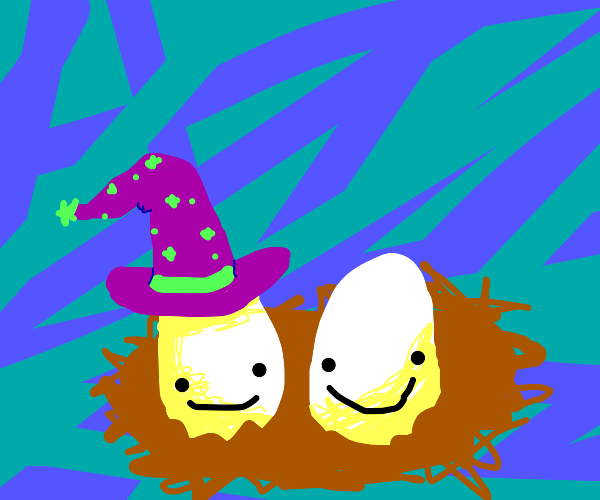 two happy eggs in a nest in a wizard's hat