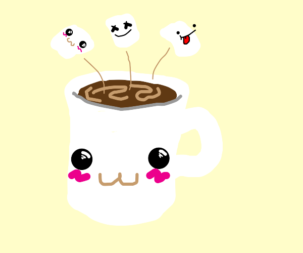 marshmellows fly out of mug